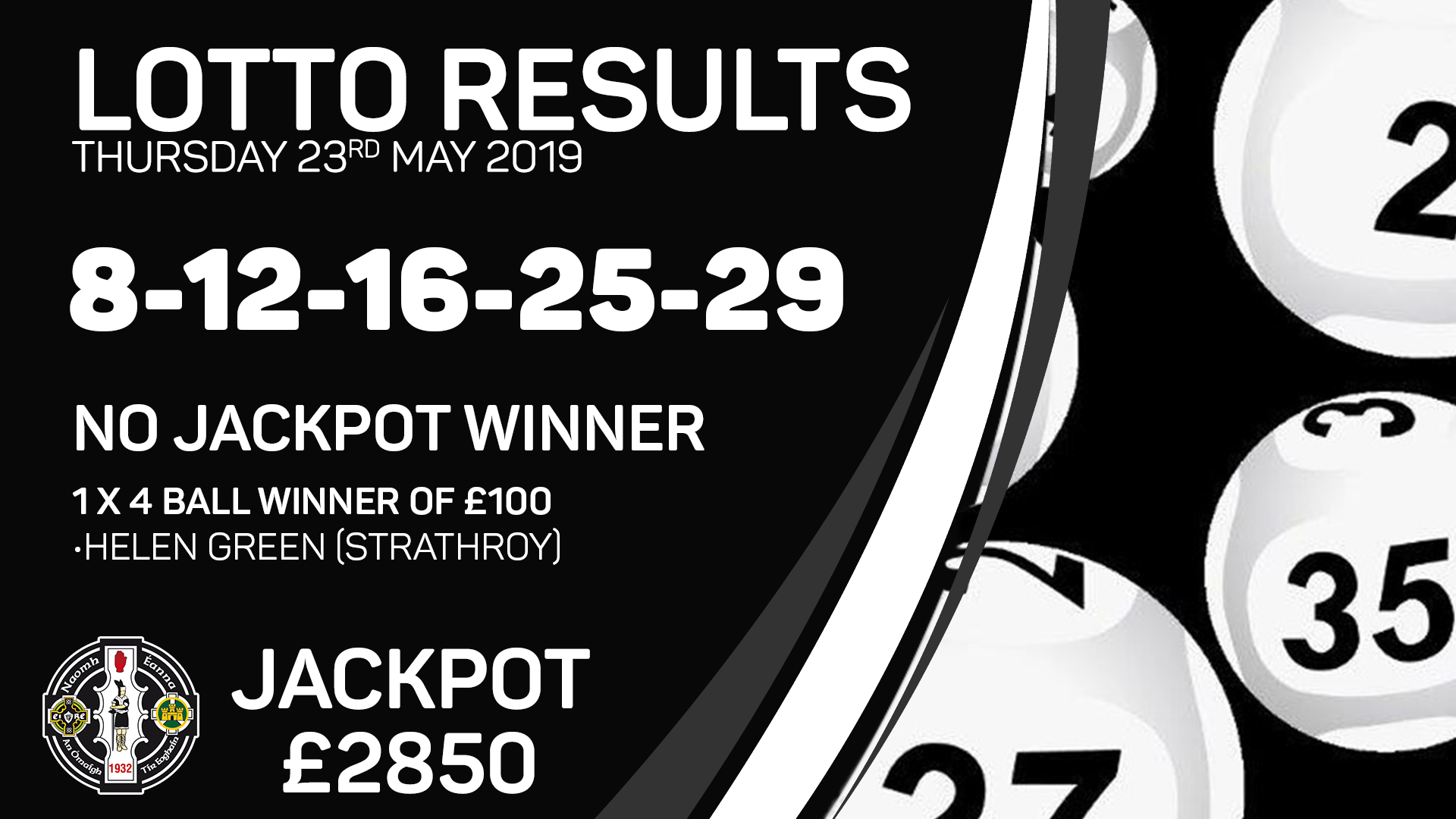 Lotto Results – Thursday 23rd May 2019