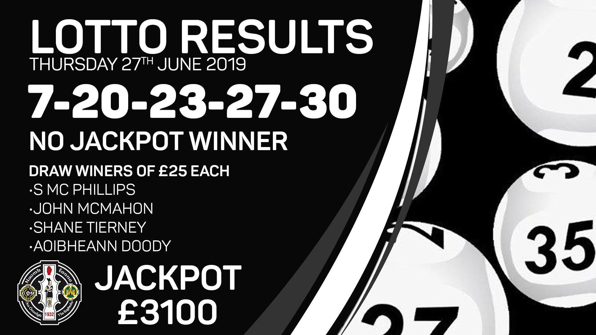 Lotto Results – Thursday 27th June 2019