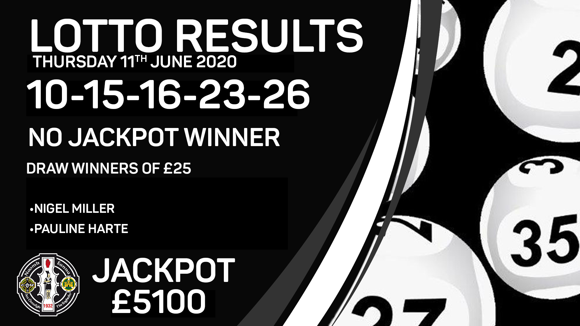 Lotto Results – Thursday 11th  June 2020