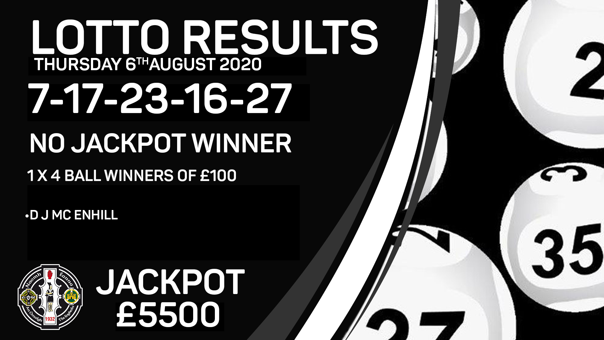 Lotto Results – Thursday 6th August 2020